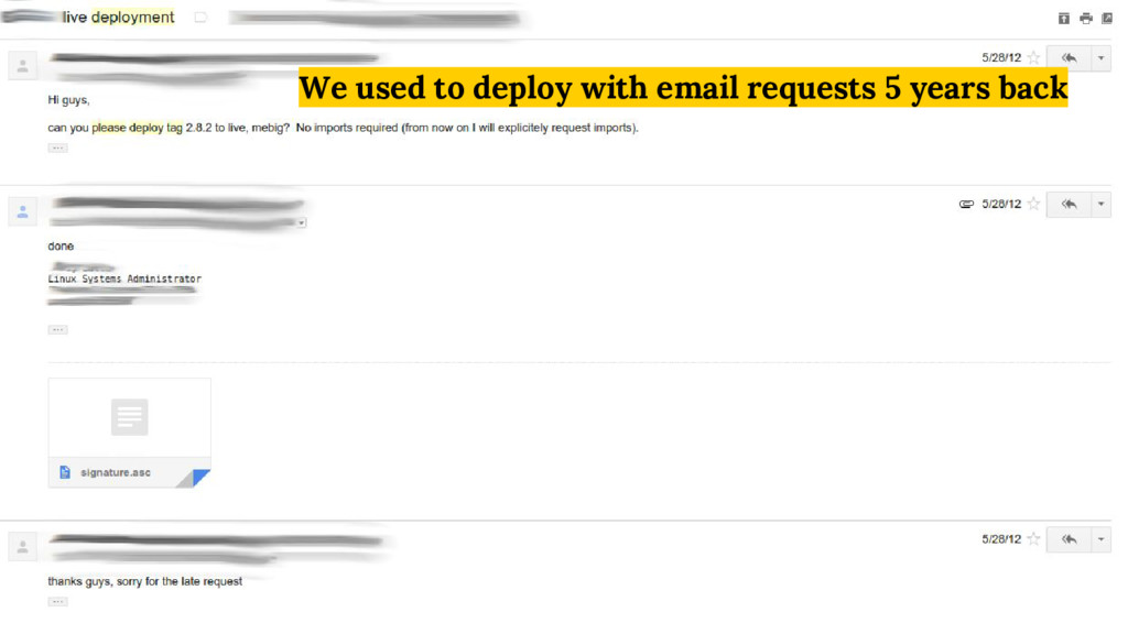 We used to deploy with email requests 5 years b...