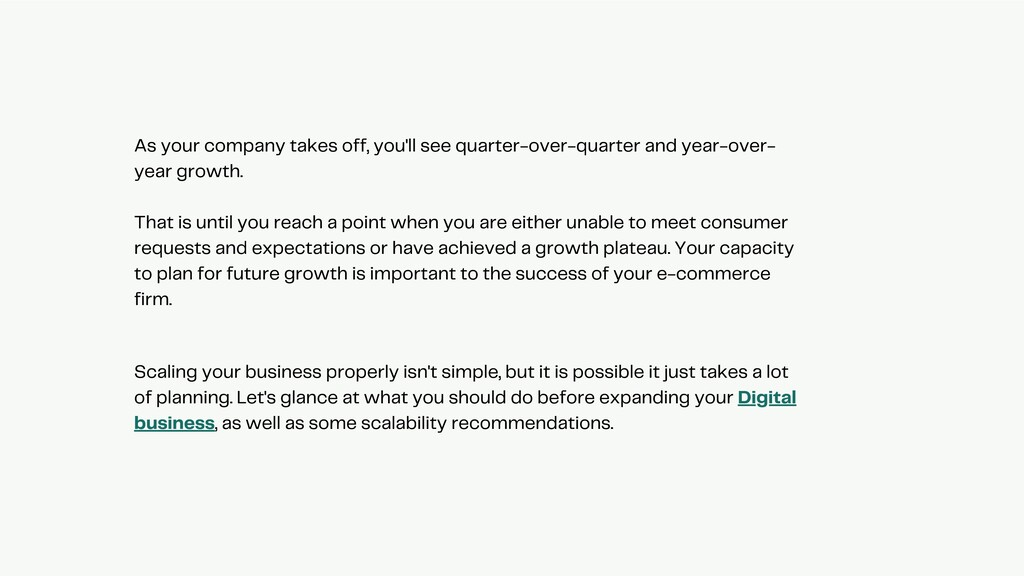 As your company takes off, you'll see quarter-o...