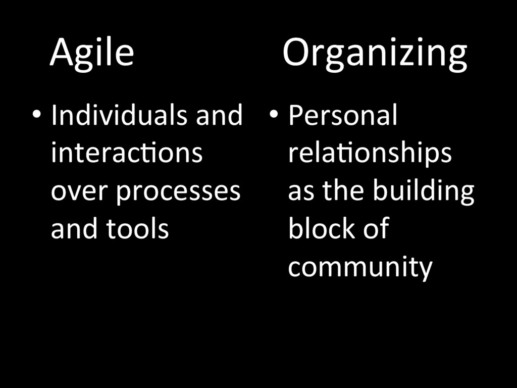 Agile Organizing • Individuals and interacTons ...