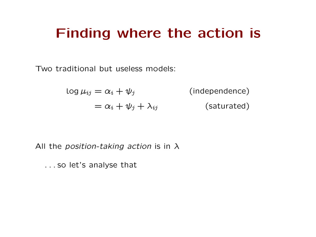 Finding where the action is Two traditional but...