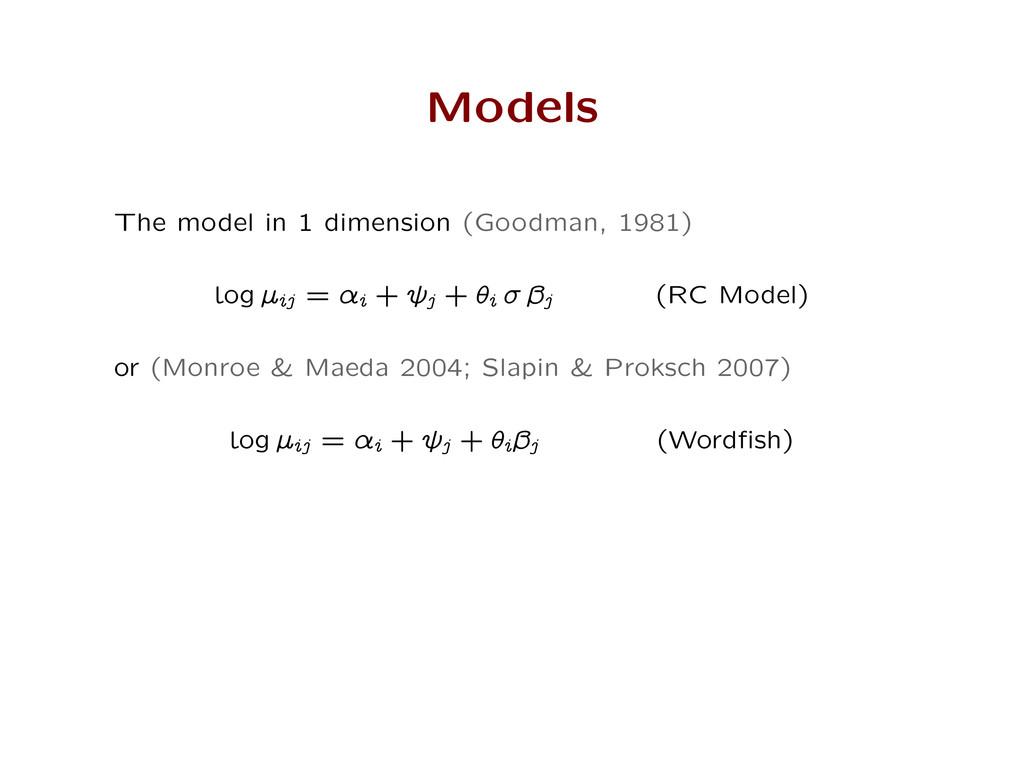 Models The model in 1 dimension (Goodman, 1981)...