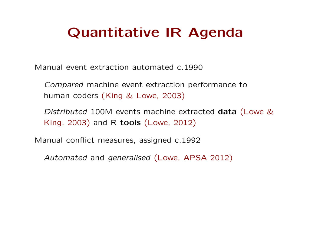 Quantitative IR Agenda Manual event extraction ...