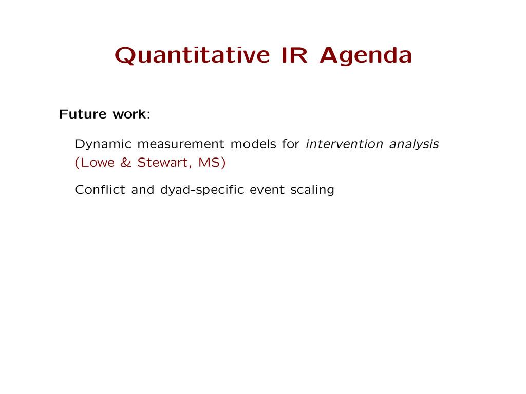 Quantitative IR Agenda Future work: Dynamic mea...