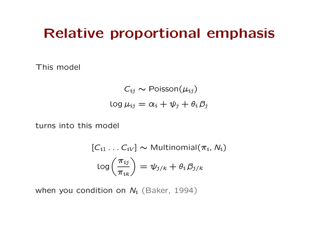 Relative proportional emphasis This model Cij ‰...