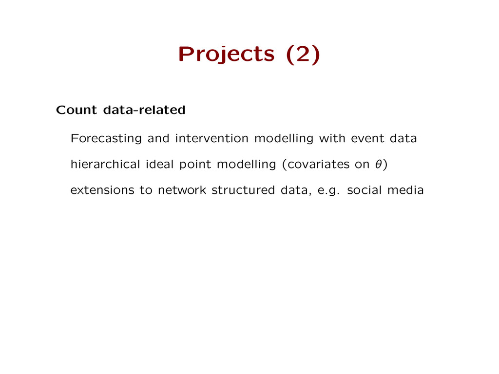 Projects (2) Count data-related Forecasting and...