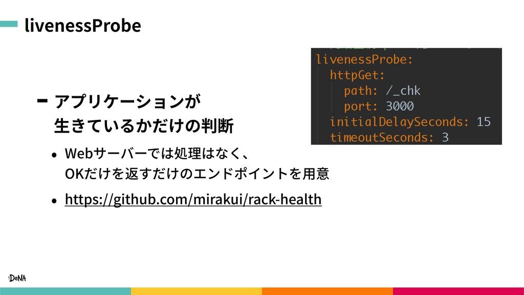 livenessProbe アプリケーションが ⽣きているかだけの判断 • Webサーバーで...
