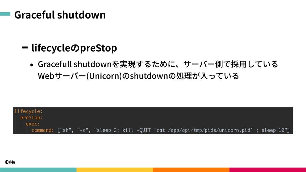 Graceful shutdown lifecycleのpreStop • Gracefull...