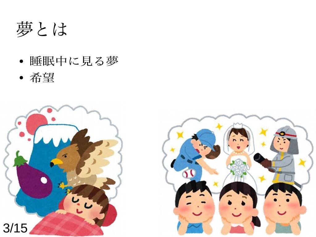 夢とは ● 睡眠中に見る夢 ● 希望 3/15