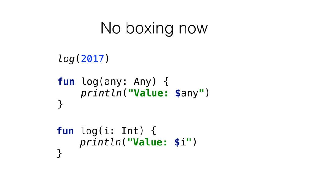 No boxing now log(2017) fun log(any: Any) { pri...
