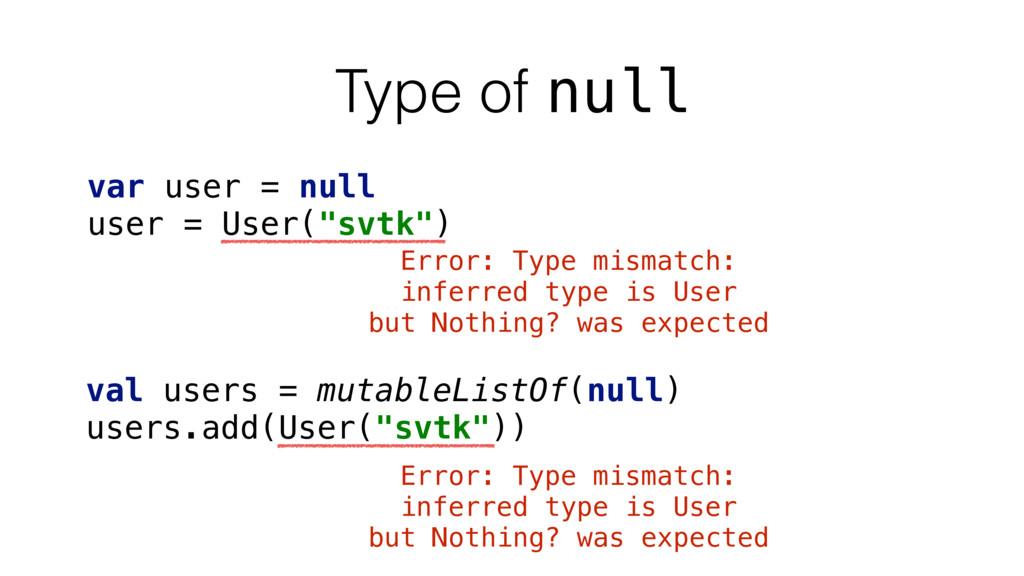 """Type of null var user = null user = User(""""svtk""""..."""