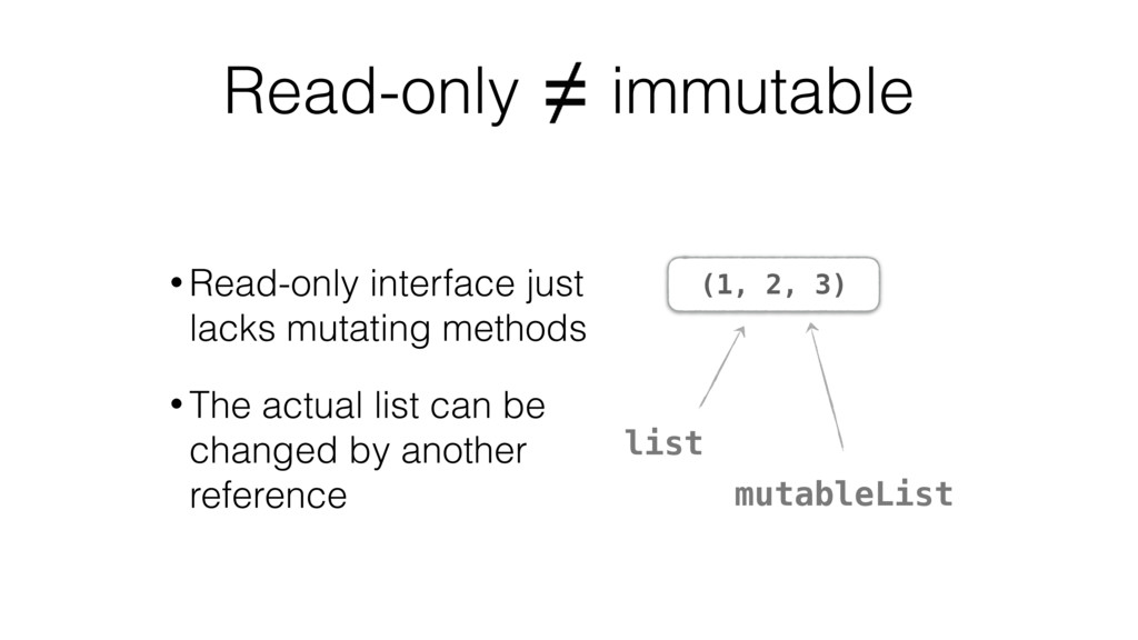 Read-only immutable (1, 2, 3) • Read-only inter...
