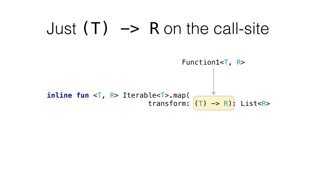 Just (T) -> R on the call-site inline fun <T, R...