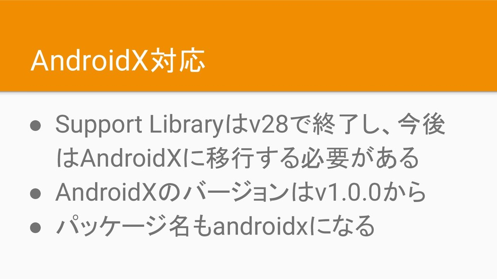 AndroidX対応 ● Support Libraryはv28で終了し、今後 はAndroi...
