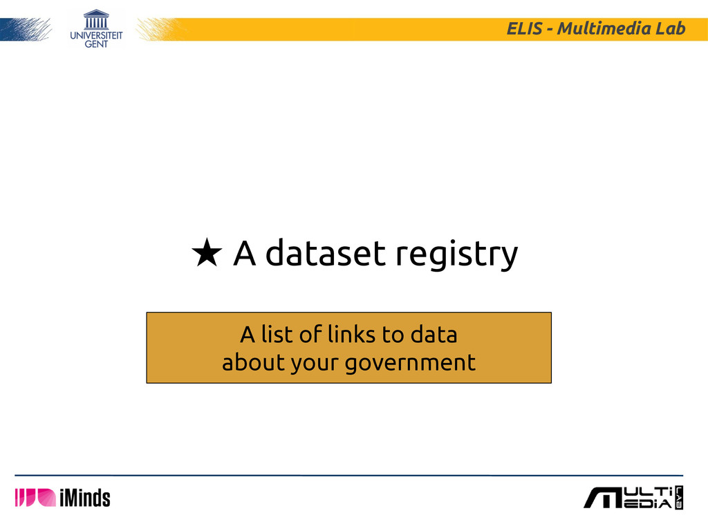 ★ A dataset registry ELIS - Multimedia Lab A li...