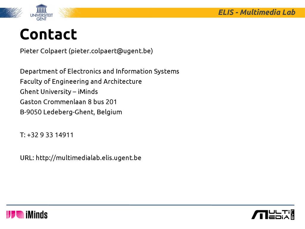 Contact Pieter Colpaert (pieter.colpaert@ugent....