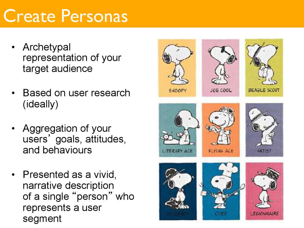 Create Personas • Archetypal representation of...