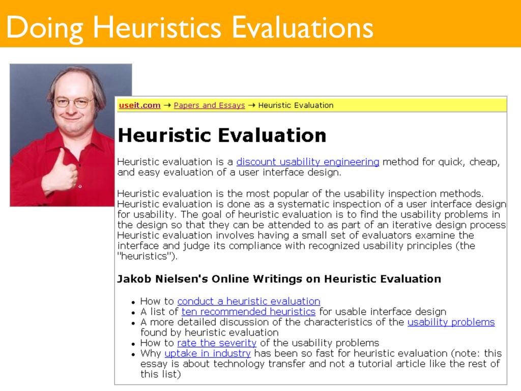 Doing Heuristics Evaluations