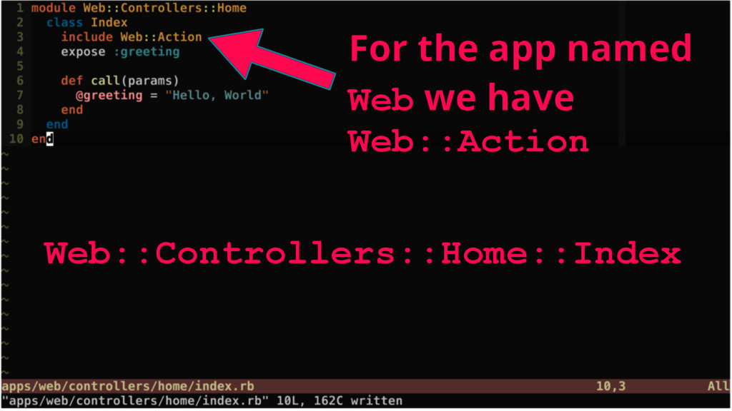 Web::Controllers::Home::Index For the app named...