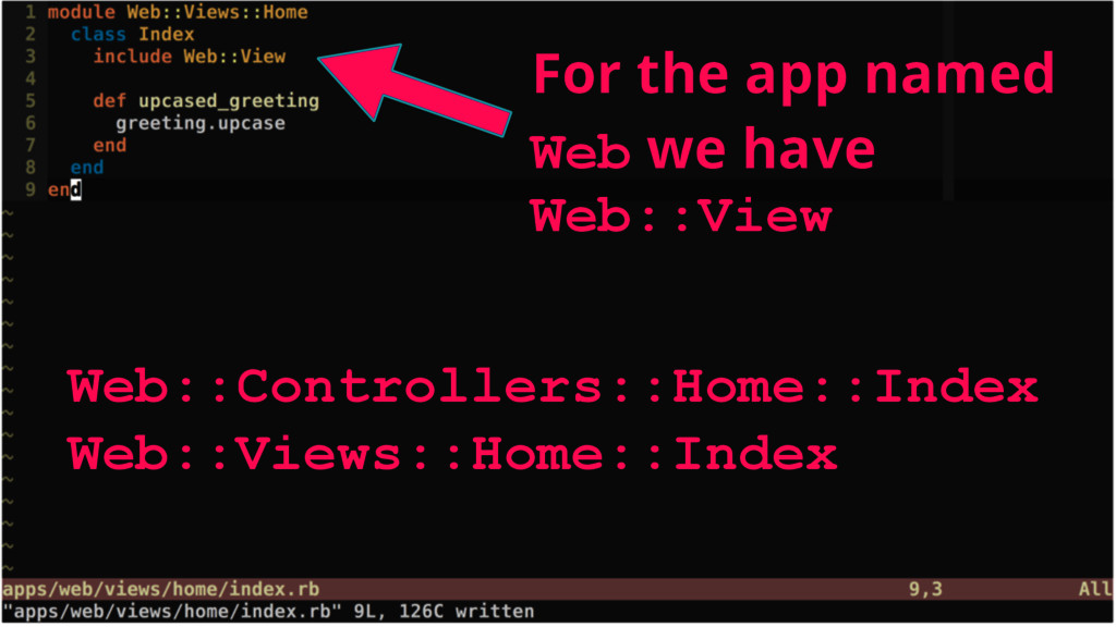 For the app named Web we have Web::View Web::Co...