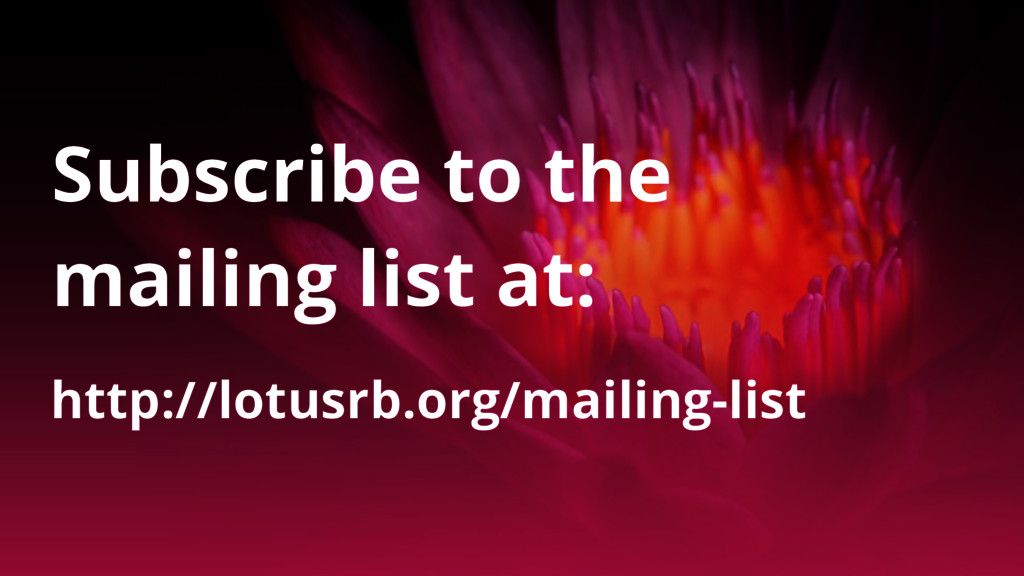 http://lotusrb.org/mailing-list Subscribe to th...