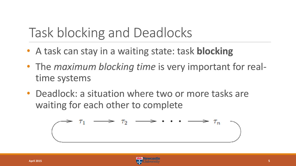 Task blocking and Deadlocks • A task can stay i...