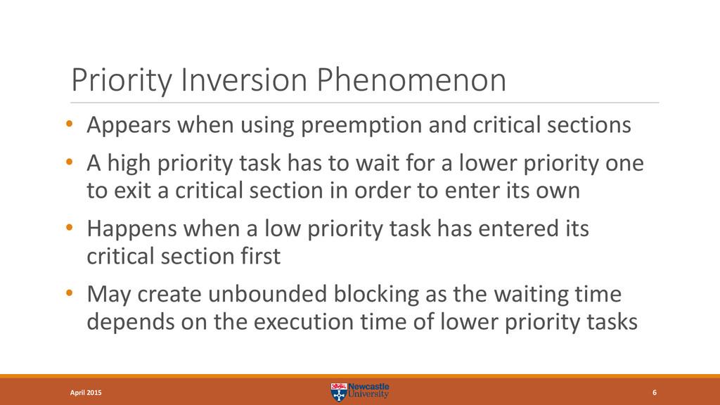 Priority Inversion Phenomenon • Appears when us...
