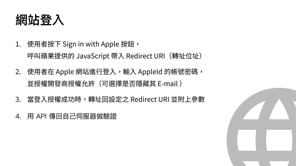 網站登入 1. 使⽤者按下 Sign in with Apple 按鈕, 呼叫蘋果提供的 Ja...