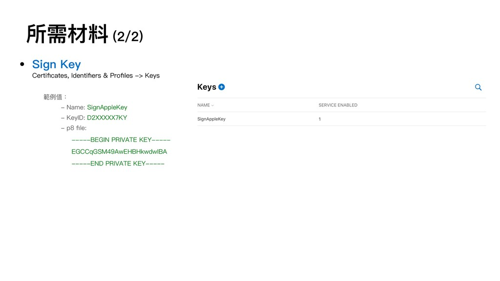 所需材料 (2/2) • Sign Key Certificates, Identifiers &...