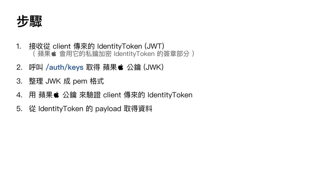 步驟 1. 接收從 client 傳來的 IdentityToken (JWT) ( 蘋果 ...