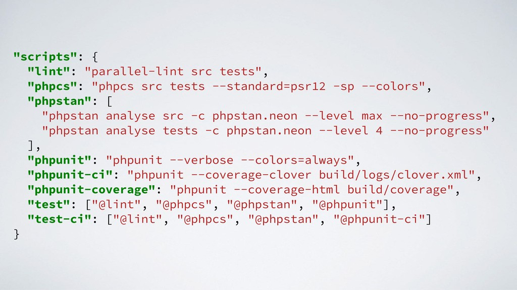 """scripts"": { ""lint"": ""parallel-lint src tests"",..."