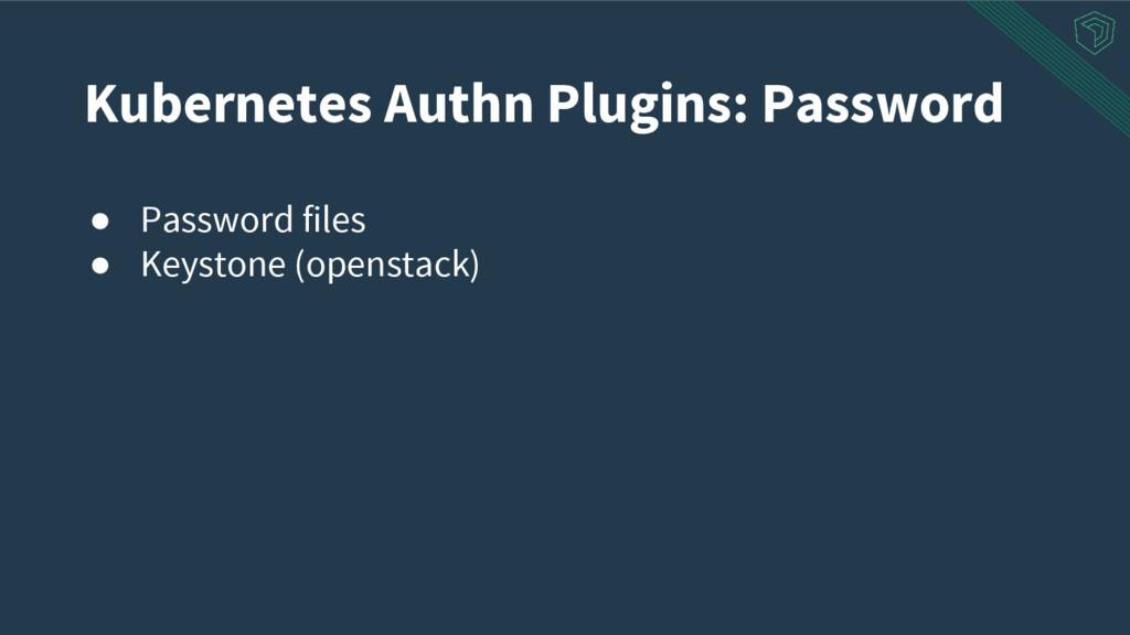 ● Password files ● Keystone (openstack) Kuberne...