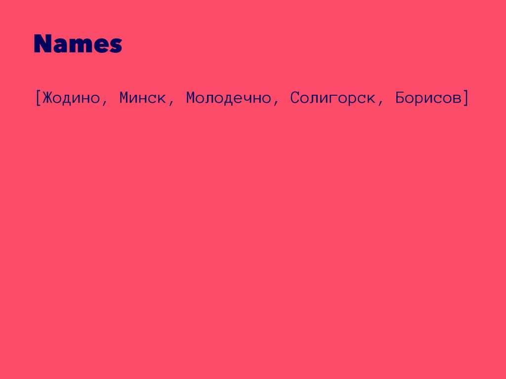 Names [Жодино, Минск, Молодечно, Солигорск, Бор...