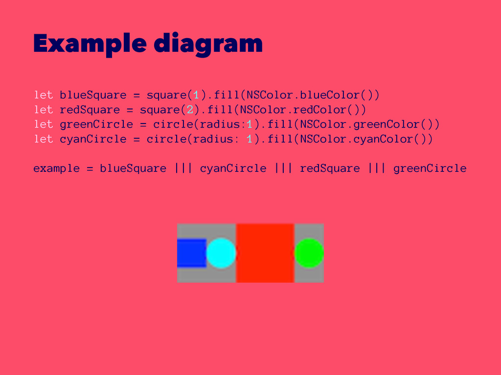 Example diagram let blueSquare = square(1).fill...
