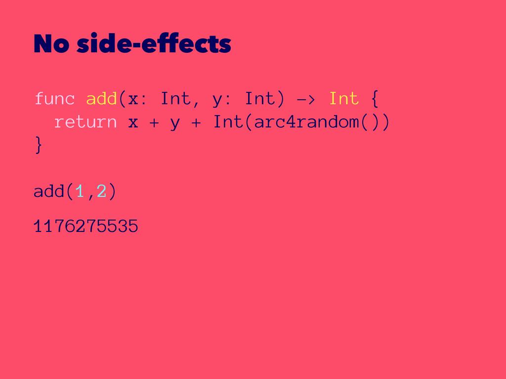 No side-effects func add(x: Int, y: Int) -> Int...