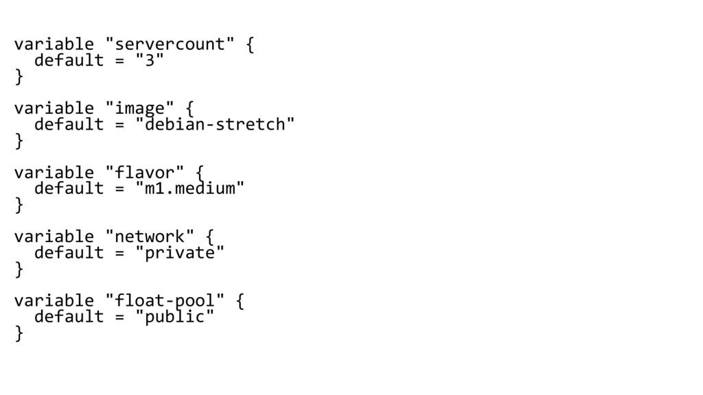 "variable ""servercount"" { default = ""3"" } variab..."