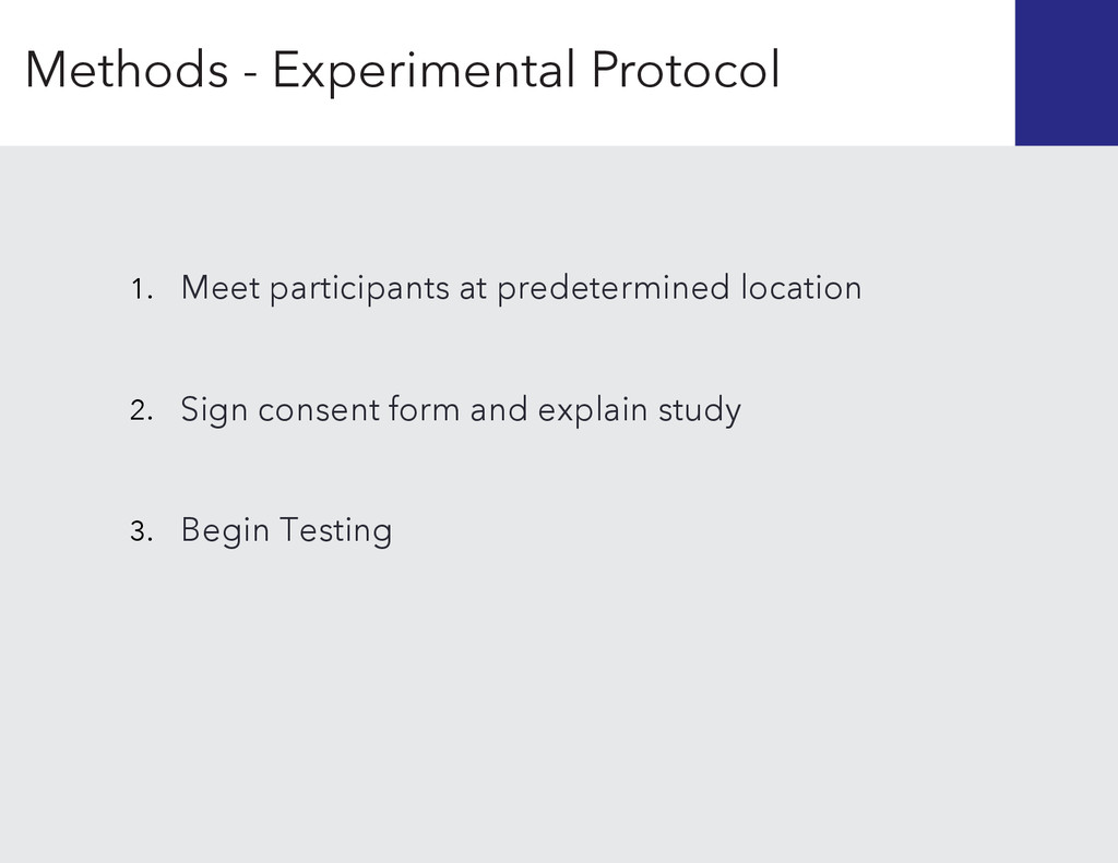 1. 2. 3. Begin Testing Sign consent form and ex...