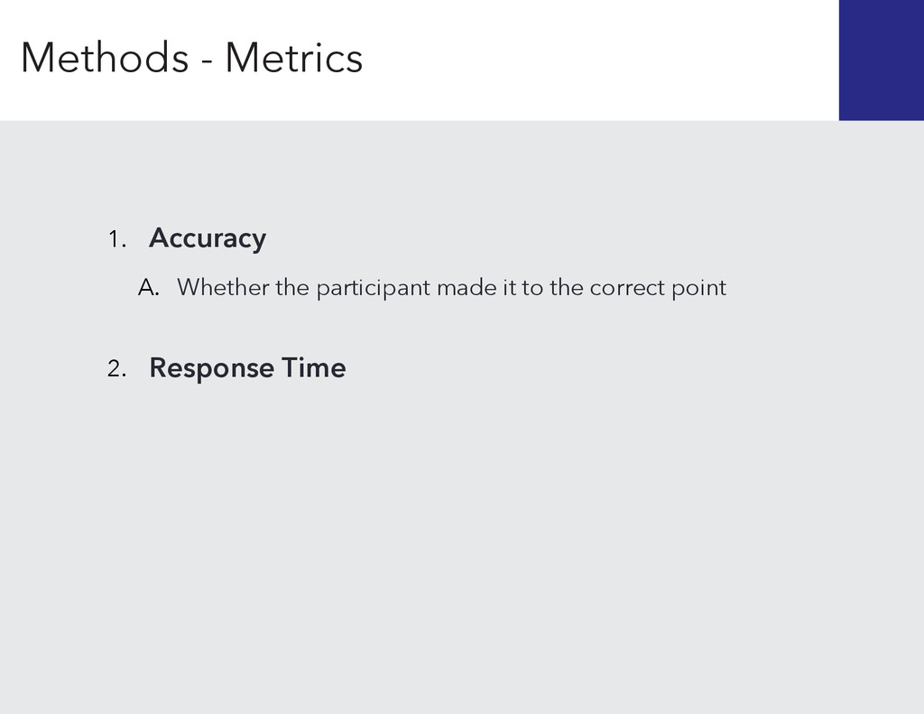 Response Time 2. 1. Accuracy A. Whether the par...