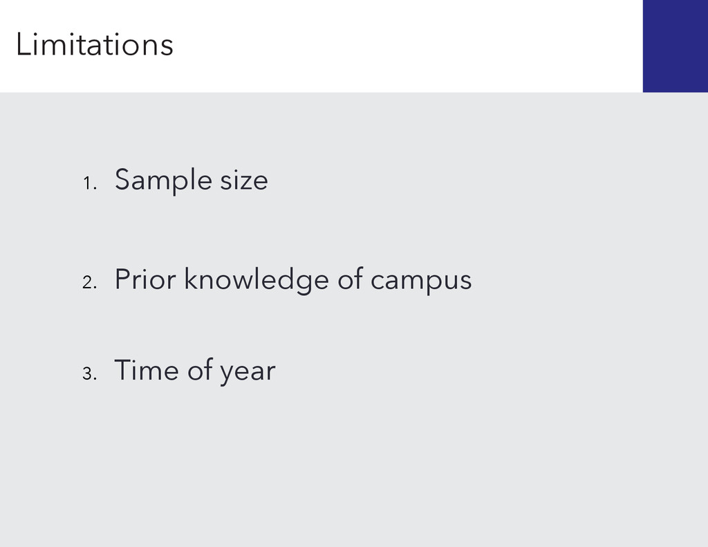Prior knowledge of campus 2. Time of year 3. 1....