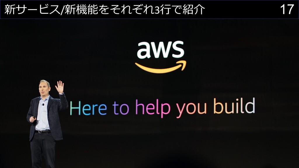17 新サービス/新機能をそれぞれ3⾏で紹介
