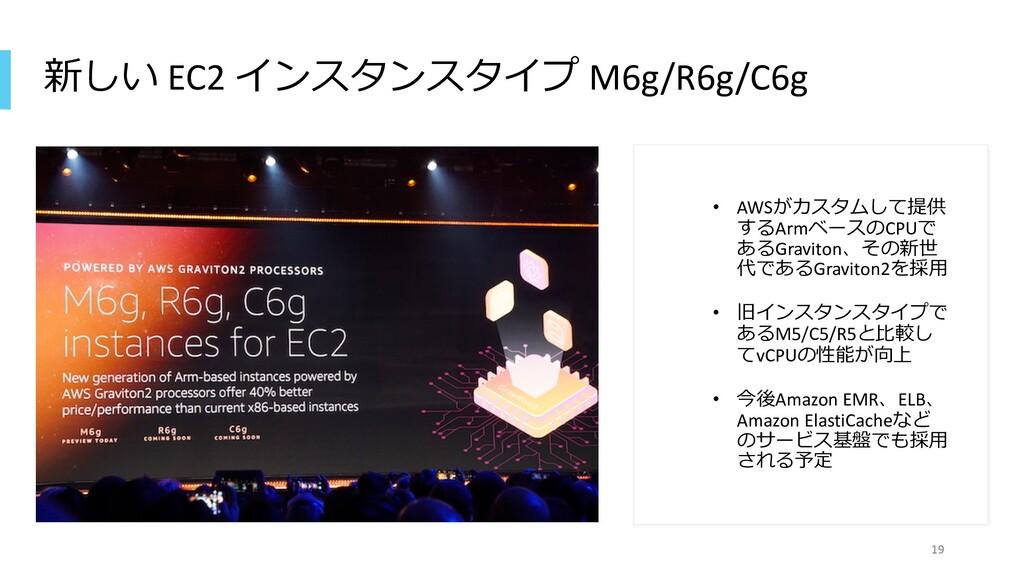 新しい EC2 インスタンスタイプ M6g/R6g/C6g • AWSがカスタムして提供 する...