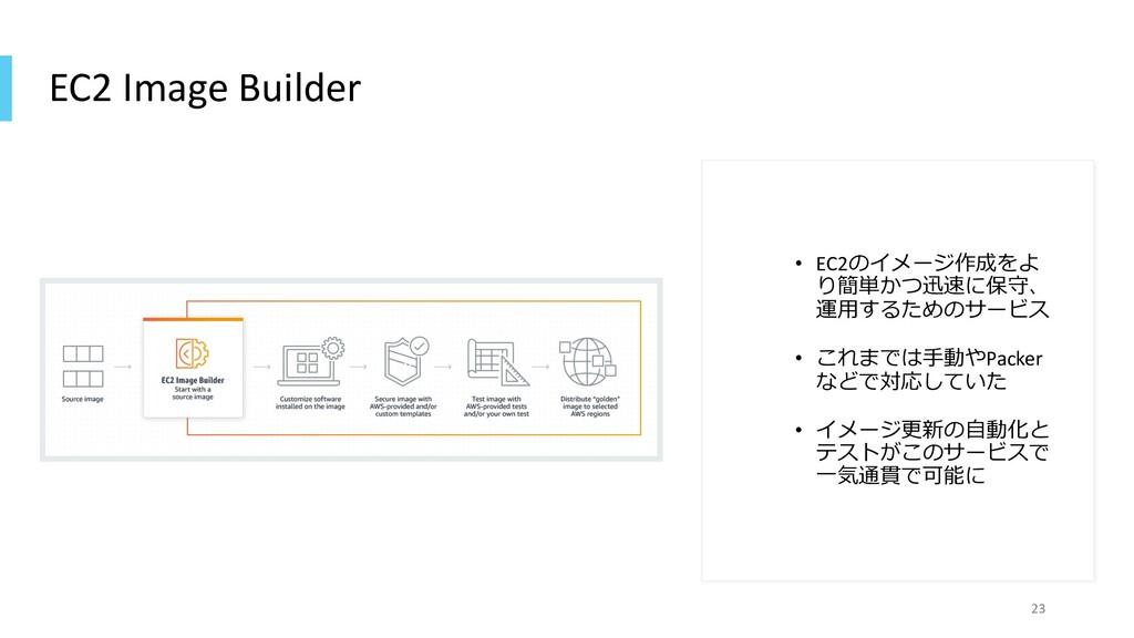 EC2 Image Builder • EC2のイメージ作成をよ り簡単かつ迅速に保守、 運⽤...