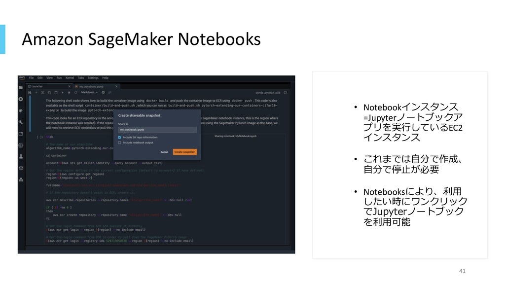 Amazon SageMaker Notebooks • Notebookインスタンス =Ju...