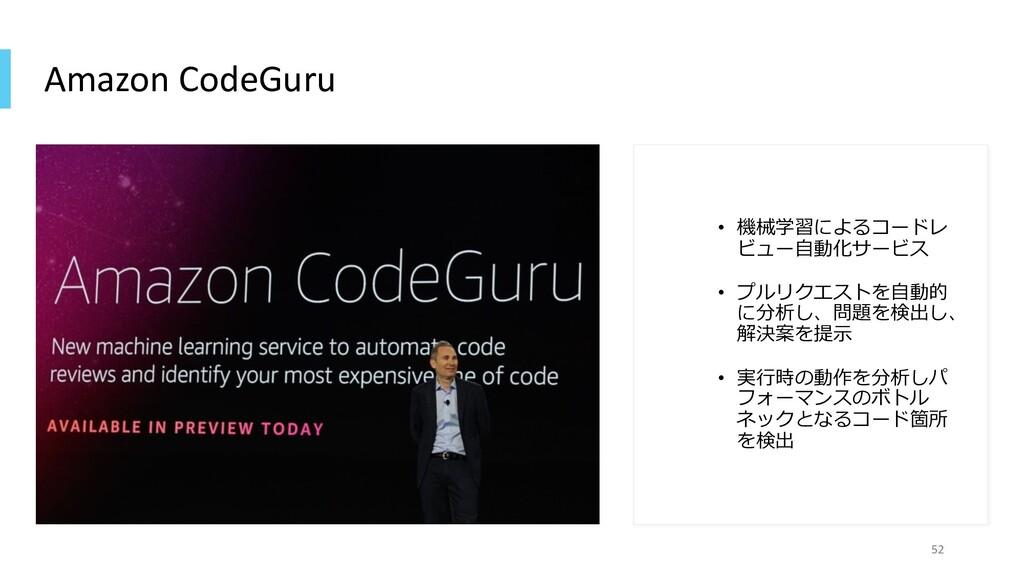 Amazon CodeGuru • 機械学習によるコードレ ビュー⾃動化サービス • プルリク...