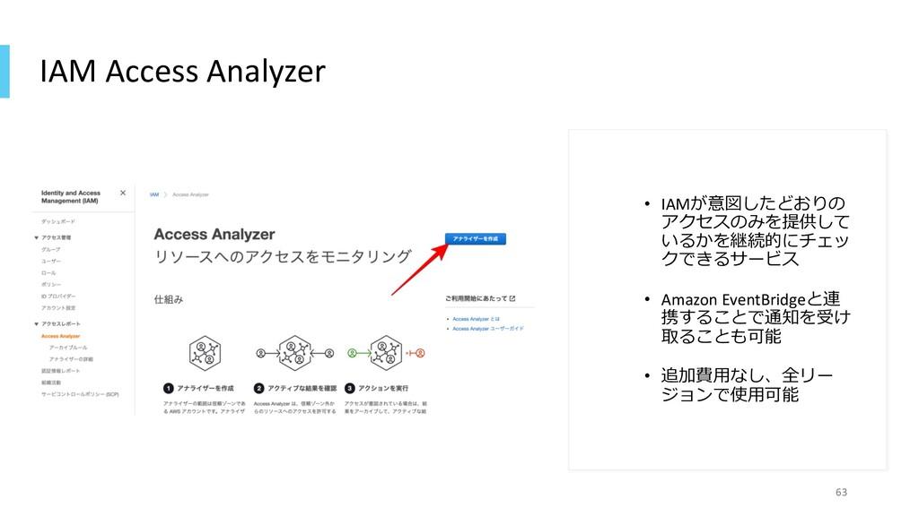 IAM Access Analyzer • IAMが意図したどおりの アクセスのみを提供して ...