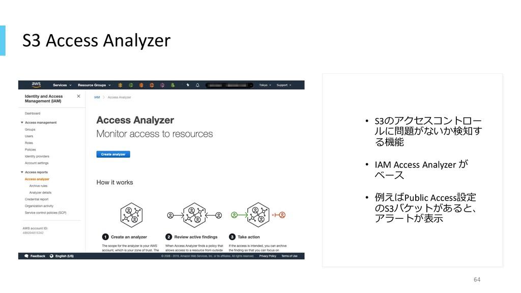 S3 Access Analyzer • S3のアクセスコントロー ルに問題がないか検知す る...
