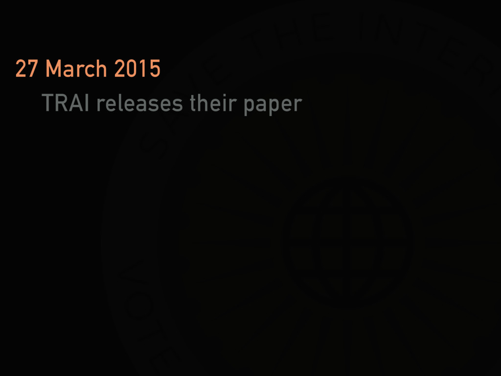 27 March 2015 TRAI releases their paper