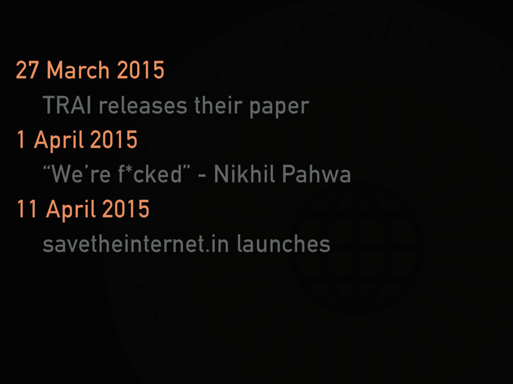 27 March 2015 TRAI releases their paper 1 April...