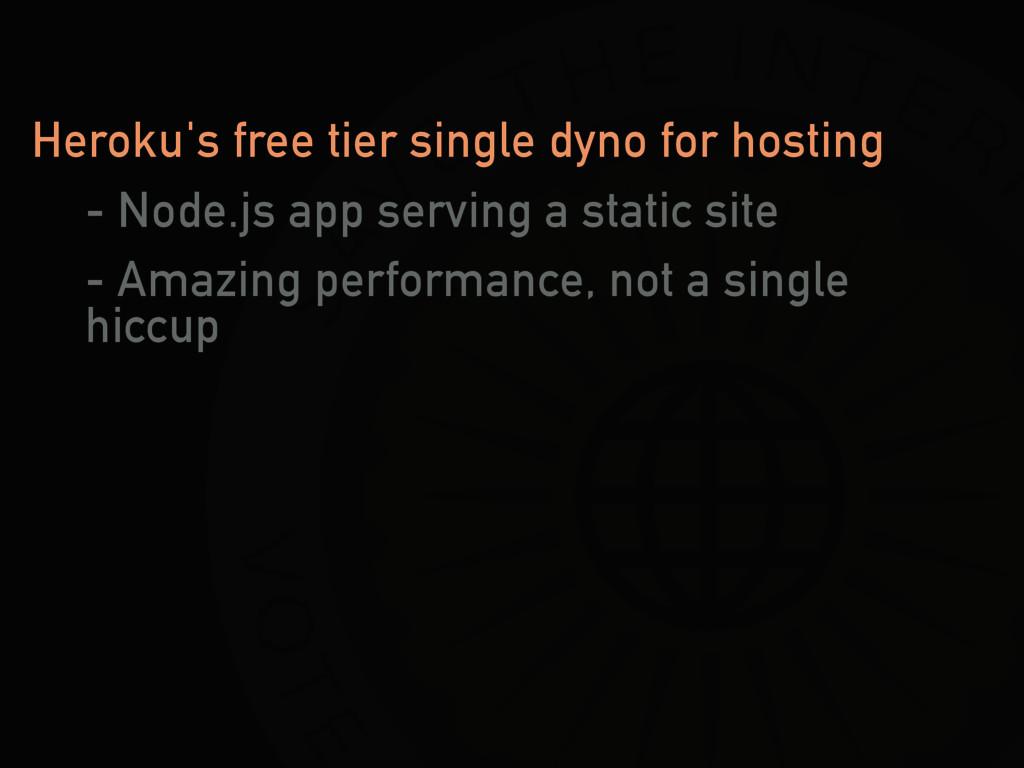 Heroku's free tier single dyno for hosting - No...