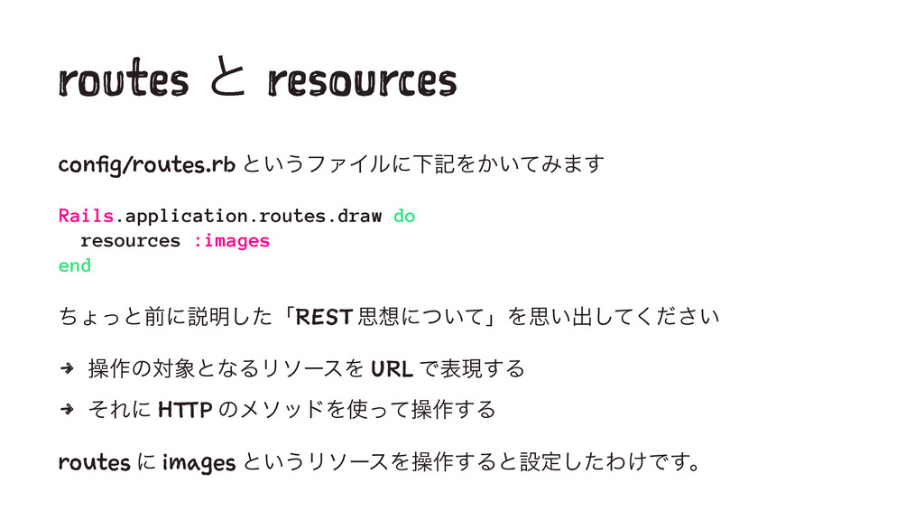 routes ͱ resources config/routes.rb ͱ͍͏ϑΝΠϧʹԼهΛ...