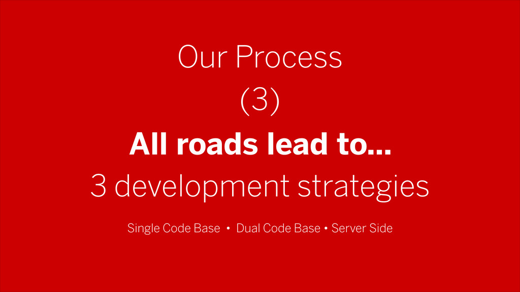 Our Process All roads lead to… 3 development st...